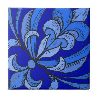Blue Dutch Flowers Small Square Tile
