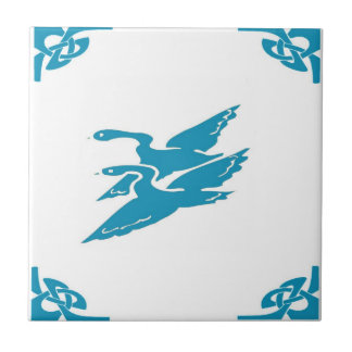 Blue Dutch Flying Geese Small Square Tile