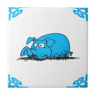 Blue Dutch Hog Delft Look Small Square Tile