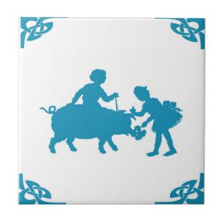 Blue Dutch Kids & Pig Delft Small Square Tile