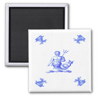 Blue Dutch Merman Old 2 Inch Square Magnet