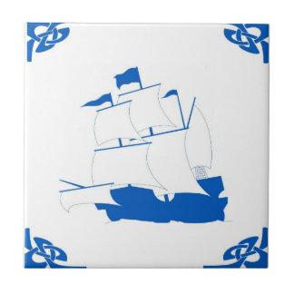 Blue Dutch Ship Small Square Tile
