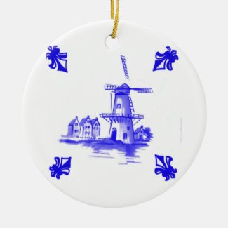 Blue Dutch Tile Ceramic Ornament