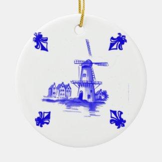Blue Dutch Tile Ceramic Ornament