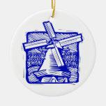 Blue Dutch Windmill Christmas Ornaments