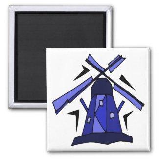 Blaue niederländische Windmühle magnet