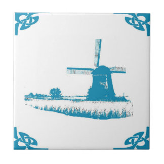Blue Dutch Windmill Trees Small Square Tile
