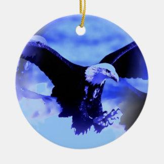 Blue Eagle Flying Christmas Ornaments