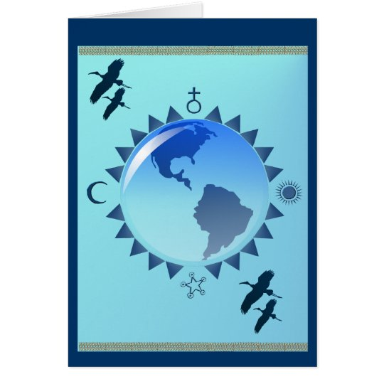 Blue Earth and SymbolsPoster Card