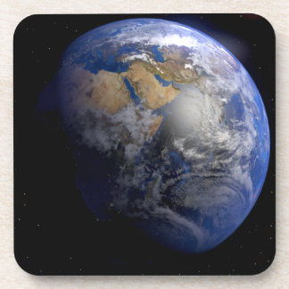 Blue Earth From Space  Inspirational Beverage Coaster