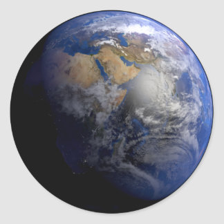 Blue Earth From Space  Inspirational Classic Round Sticker