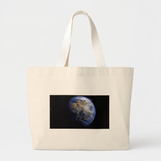 Blue Earth From Space  Inspirational Large Tote Bag
