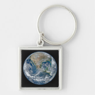 Blue Earth Silver-Colored Square Keychain