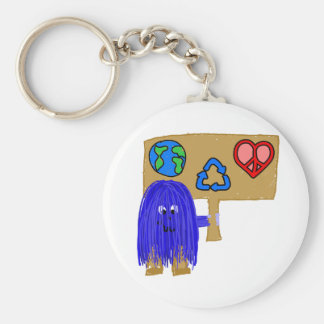 blue earth love peace recycle keychain