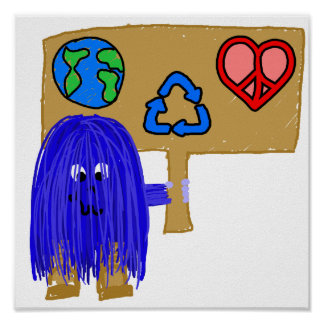 blue earth love peace recycle poster