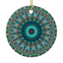 Blue Earth Mandala Kaleidoscope pattern Ceramic Ornament