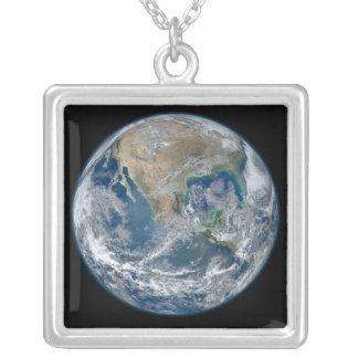Blue Earth Square Pendant Necklace
