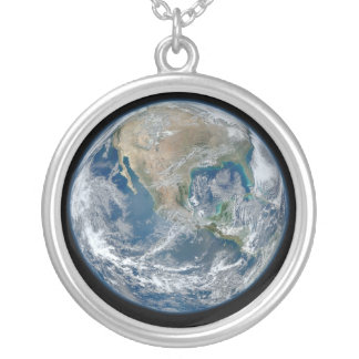 Blue Earth Round Pendant Necklace