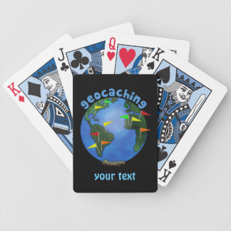 Blue Earth With Flags Geocaching Custom Bicycle Playing Cards