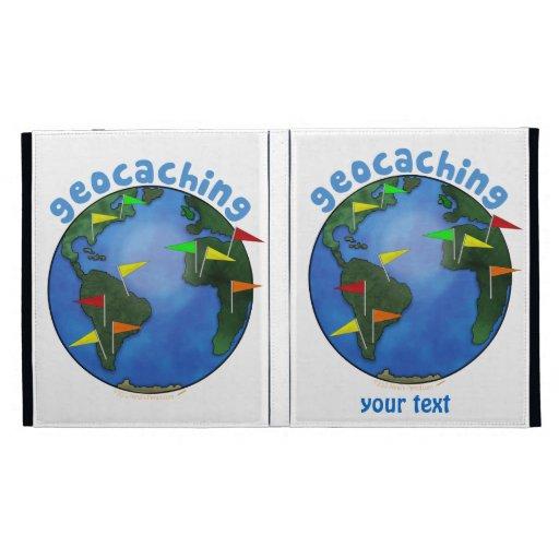 Blue Earth With Flags Geocaching Custom iPad Folio Cases