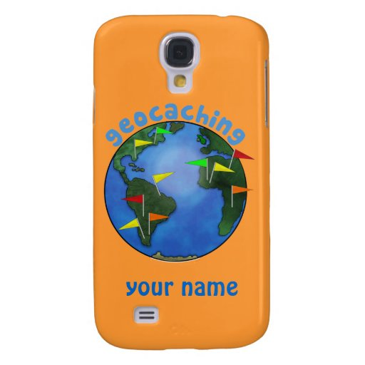 Blue Earth With Flags Geocaching Custom Galaxy S4 Case