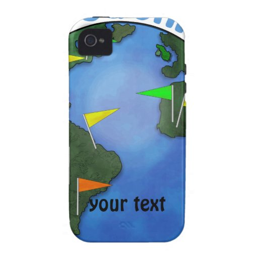 Blue Earth With Flags Geocaching Custom iPhone 4/4S Case