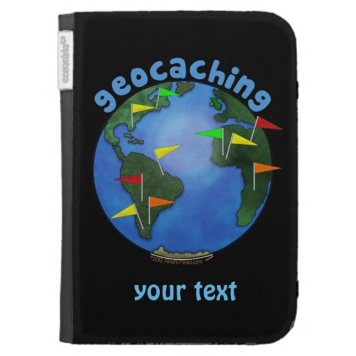 Blue Earth With Flags Geocaching Custom Kindle Cases