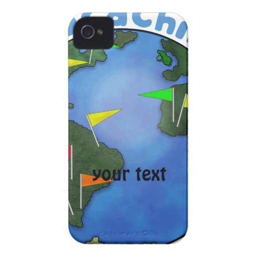 Blue Earth With Flags Geocaching Custom iPhone 4 Covers