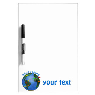 Blue Earth With Flags Geocaching Custom Dry Erase Whiteboard