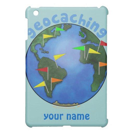 Blue Earth With Flags Geocaching Custom iPad Mini Cover