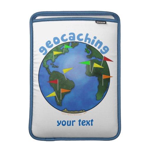 Blue Earth With Flags Geocaching Custom MacBook Air Sleeves