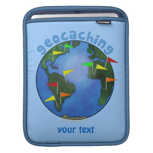 Blue Earth With Flags Geocaching Custom Sleeves For iPads