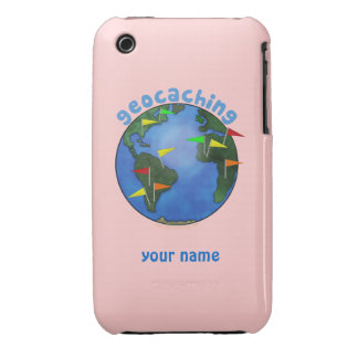 Blue Earth With Flags Geocaching Custom iphone 3 iPhone 3 Case-Mate Case