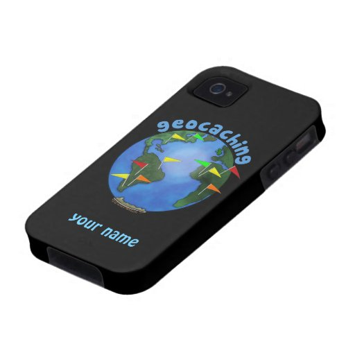 Blue Earth With Flags Geocaching Custom iphone 4 iPhone 4 Cover