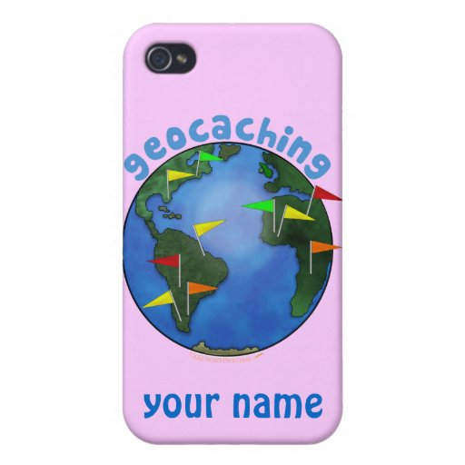 Blue Earth With Flags Geocaching Custom Cases For iPhone 4