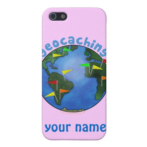 Blue Earth With Flags Geocaching Custom Case For iPhone 5