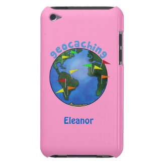 Blue Earth With Flags Geocaching Custom itouch Barely There iPod Covers