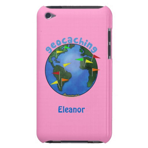 Blue Earth With Flags Geocaching Custom itouch iPod Touch Case