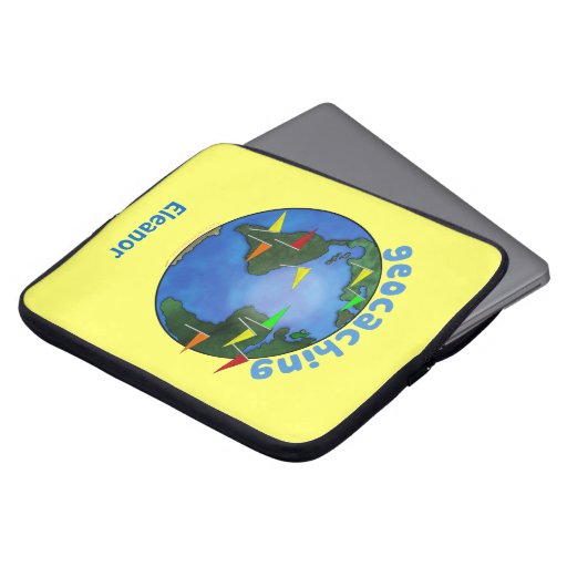 Blue Earth With Flags Geocaching Custom Laptop Computer Sleeves