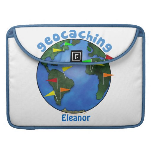 Blue Earth With Flags Geocaching Custom Sleeves For MacBook Pro