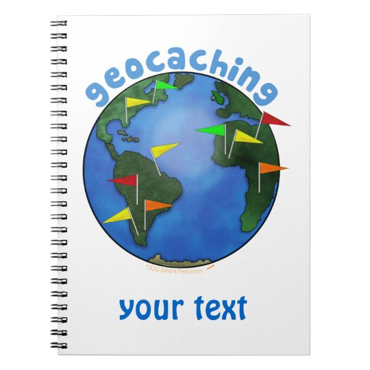 Blue Earth With Flags Geocaching Custom Notebook