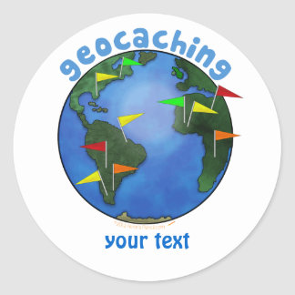 Blue Earth With Flags Geocaching Custom Round Sticker