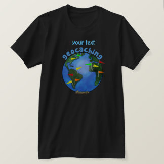 Blue Earth With Flags Geocaching Custom T-Shirt