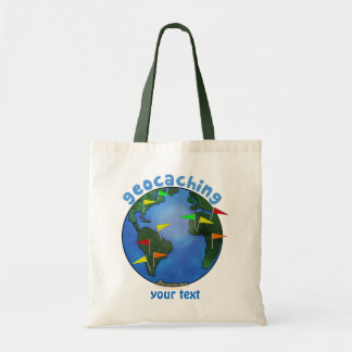 Blue Earth With Flags Geocaching Custom Tote Bag