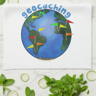 Blue Earth With Flags Geocaching Custom Towel