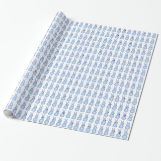 Blue Easter Bunnies Gift Wrap Paper