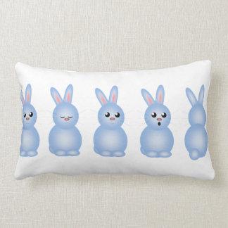 Blue Easter Bunnies Throw Pillow