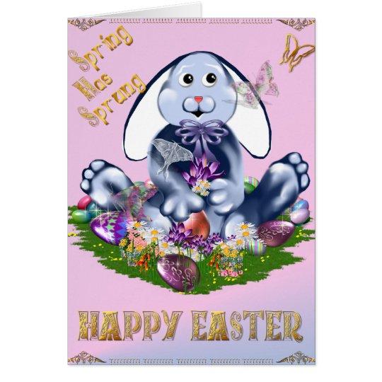 Blue Easter Bunny Card