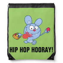 Blue Easter Bunny Carrying Colorful Easter Eggs Drawstring Backpack