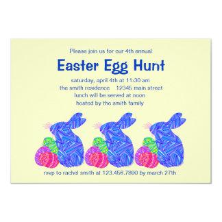 Blue Easter Bunny Easter Egg Hunt Party Invites